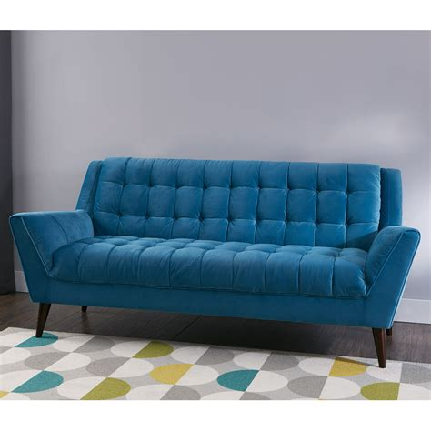braxton mid century modern retro sofa teal  home