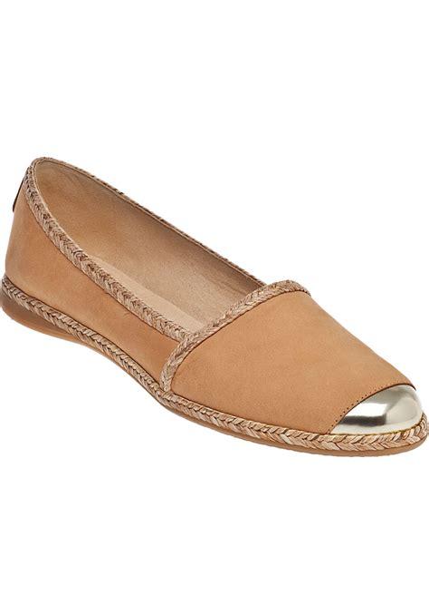 flat beige shoes lyst stuart weitzman tipadrille flat beige suede in