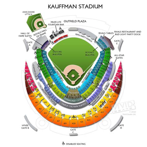 kauffman stadium maps seating charts