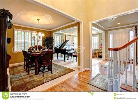 luxury house interior with open floor plan stock photo