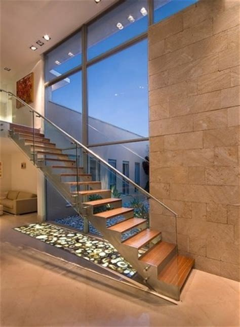 Modern Glass Stairs Design Open Riser Staircase Narrow Stringers With Attached Glass Paneled Railing