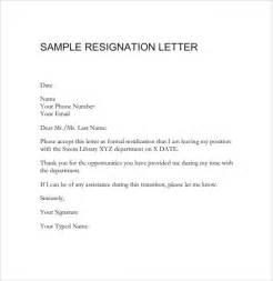 Exles Of Resignation Letters For Teachers by Resignation Letter 8 Documents In Pdf Word