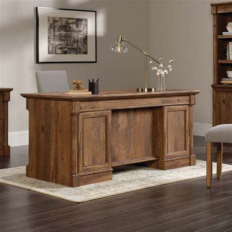 sauder palladia executive desk in vintage oak sauder palladia executive desk in vintage oak 420604