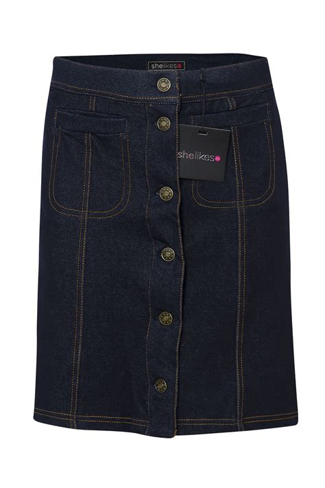 buttons pockets womens ladies mini denim party front button pocket casual