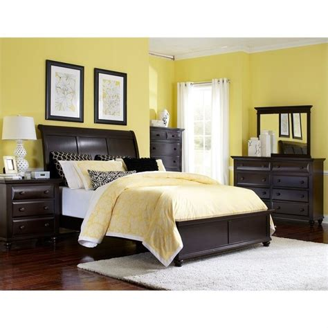 Broyhill Farnsworth Sleigh Bed 5 Piece Bedroom Set In Inky Black Stain 4856 5pc Sleighbed Set