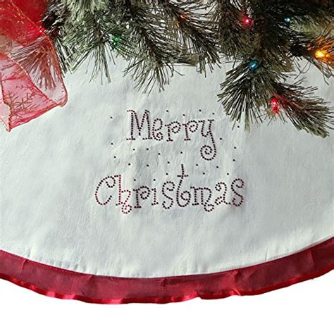 48 christmas tree skirt cream with red ribbon trim