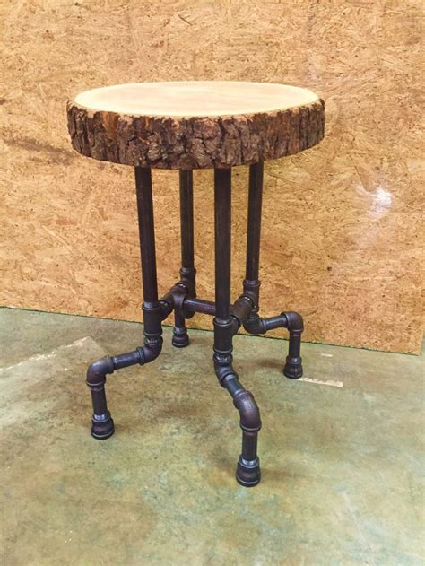 Iron Pipe Bar Stool by Cherry Slab Seat On 3 4 Quot Black Iron Pipe This 24 Quot Stool
