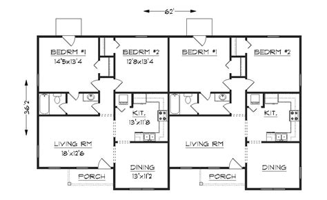 floor plan of a duplex duplex j1042d