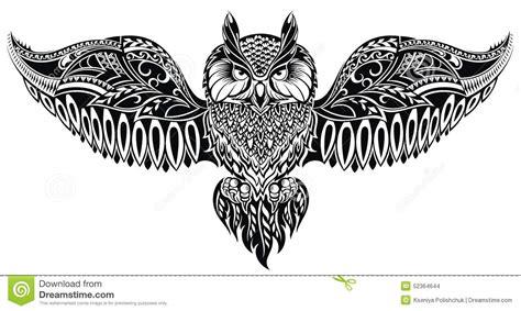 Owl Maxy By Dans hibou dans le style de tatouage illustration de vecteur