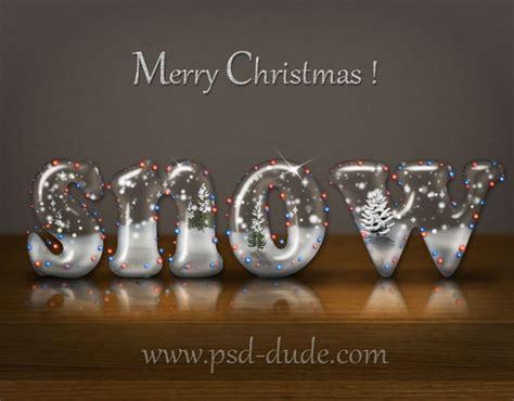 logo design photoshop tutorials psddude snow text christmas photoshop tutorial by psddude on