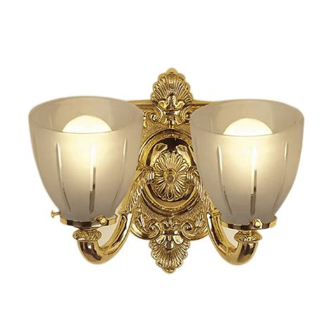 Polished Brass Vanity Lights Shop Jvi Designs 2 Light Polished Brass Standard Bathroom Vanity Light At Lowes