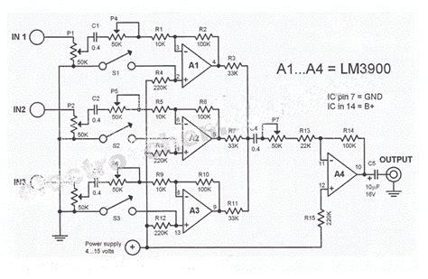 Pcb Mixer Audio lifiercircuits diagram mixer