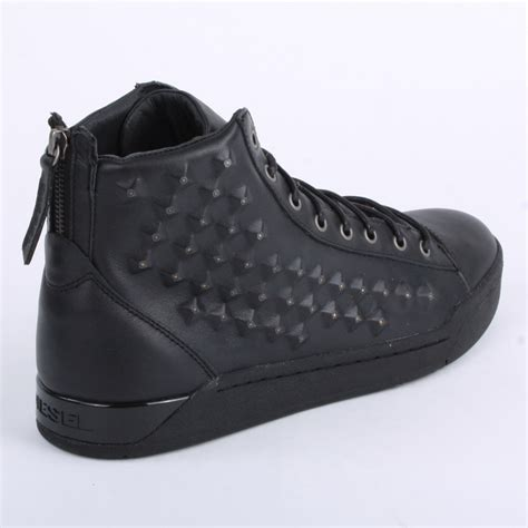 diesel mens laced leather studs trainers shoes