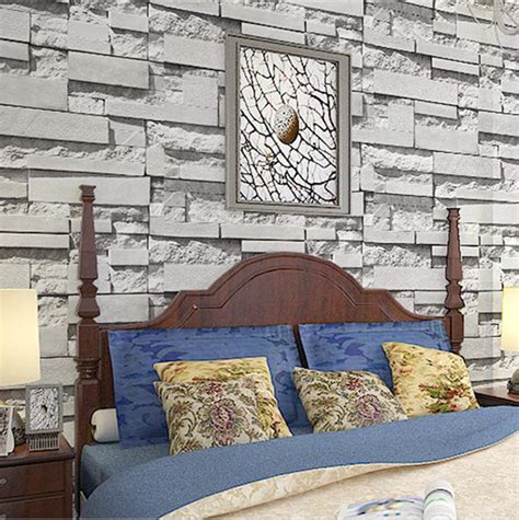 birch home decor vivid art wallpaper roll birch tree brick stone room decor
