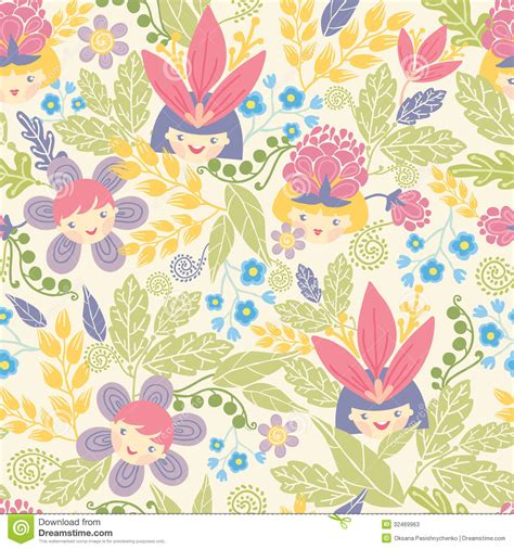 flowers seamless pattern element vector background flower girls seamless pattern background stock photos