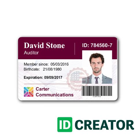 work id card template customizable employee id card same day shipping