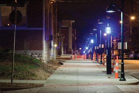 sidewalk lights more blue lights placed on melville student