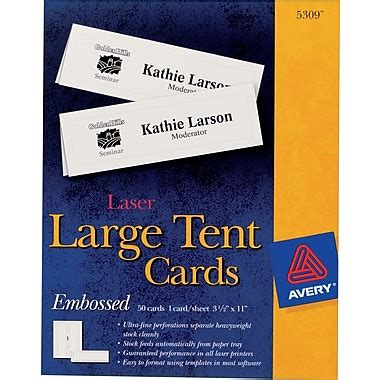 avery 2 x 3 1 2 place card template fall avery laser inkjet embossed tent cards 3 1 2 quot x 11