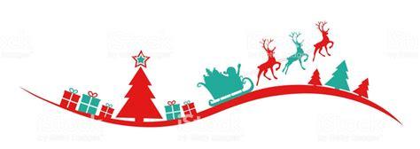panoramic christmas banner  silhouette  christmas tree santa claus  presents vector
