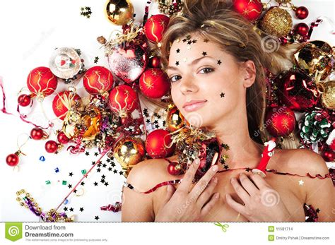 beautiful model with christmas decorations stock photo