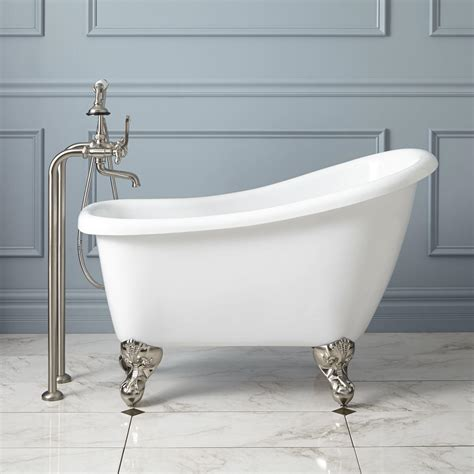 bathtub overflow 44 quot carter acrylic slipper mini clawfoot tub chrome feet