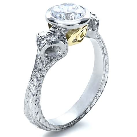 two tone engagement rings two tone hand engraved engagement ring 1204