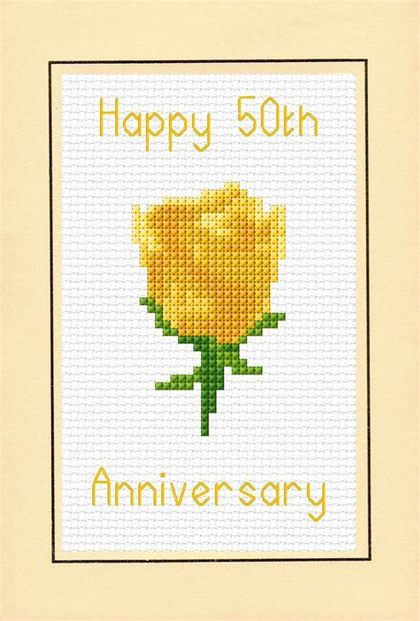 Rose Golden Yellow Happy 50th Anniversary Card   14 Count
