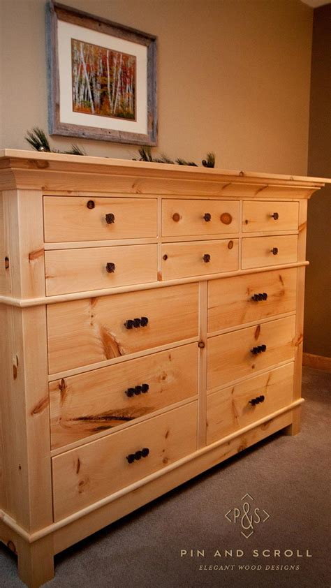 Rustic Bedroom Dresser Rustic Pine Bedroom Set Large Knotty Pine Dresser 02 Pinandscroll
