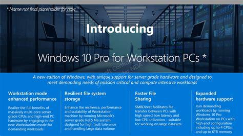 windows for microsoft leak reveals windows 10 workstation edition