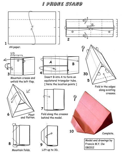 How To Make A Origami Iphone - francis ow s origami diagrams iphone stand