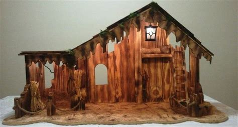 nativity manger stable lighted handmade wooden on sale