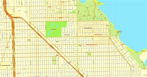chicago zip code map 2016 chicago illinois us vector map adobe illustrator