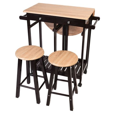 rolling bar stools 3pcs kitchen island set with drop leaf table 2 stools wood