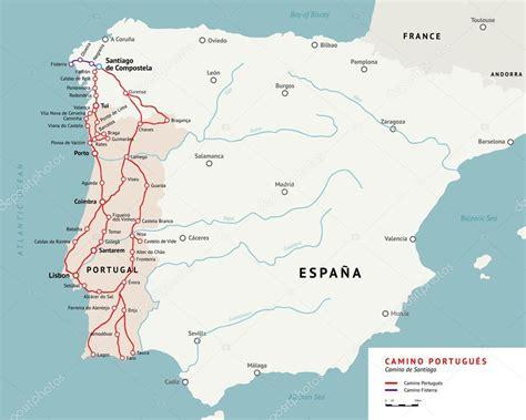 Camino De Santiago Portugal by Camino Portugues Mapa Caminho De Santiago Portugal