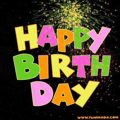 colourful happy birthday fireworks gif animated image   funimadacom