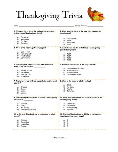 was thanksgiving a success quiz free thanksgiving trivia templates at allbusinesstemplates