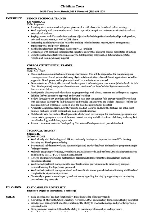 resume format for technical trainers technical trainer resume sles velvet