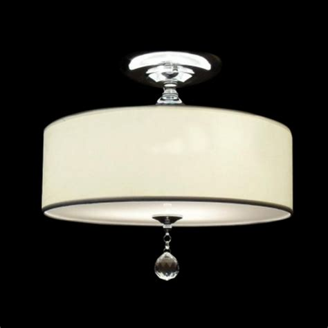 grand white fabric drum shade semi flush ceiling lights
