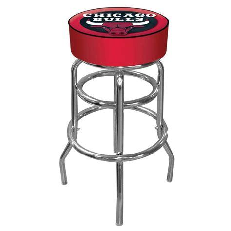 padded swivel bar stools trademark chicago bulls nba 31 in chrome padded swivel