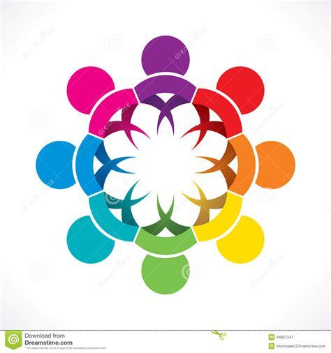 design concept unity colorful teamwork or unity design concept cartoon vector