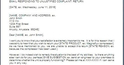 Response Letter To Unjustified Complaint Every Bit Of Customer Complaint Rejection Letter