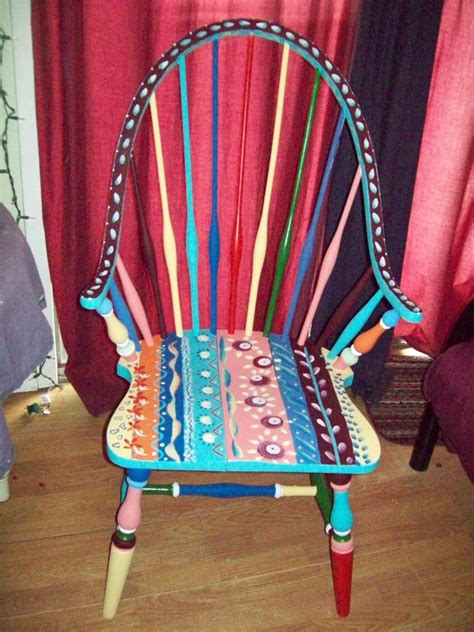 colored chairs custom dining room antique arm chair handpainted multi colored by i paint cool stuff