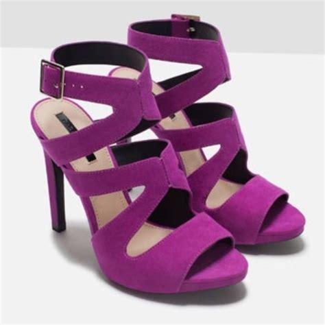 color heels zara high heel sandals with buckle purple magenta color