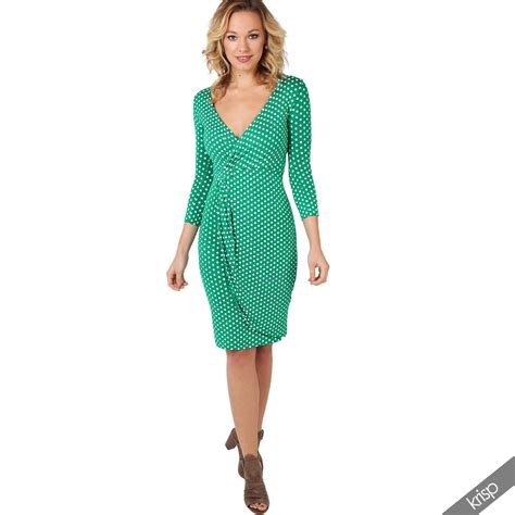 swing top dress womens polka dot knot front v neck top pleated bodycon
