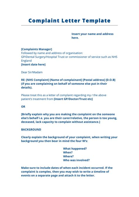 Complaint Letter Template To Nhs Complaint Letter Template Uk In Word And Pdf Formats