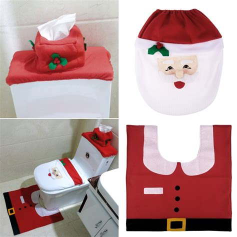 santa toilet seat cover and rug set 3pcs fancy santa toilet seat cover rug bathroom set decoration ebay