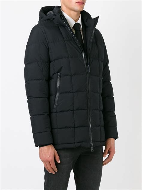 hooded padded coat herno hooded padded coat in black for lyst