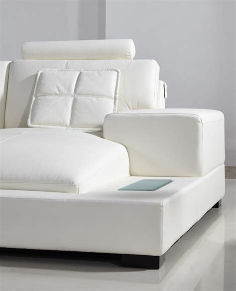 Modern White Bonded Leather Sectional Sofa Divani Casa Modern White Bonded Leather Sectional Sofa