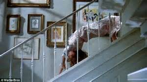 Exorcist Stair Scene by Hilaria Baldwin Performs Acrobatic Staircase Yoga