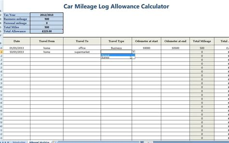 mileage expense template car mileage allowance expense calculator for self employed